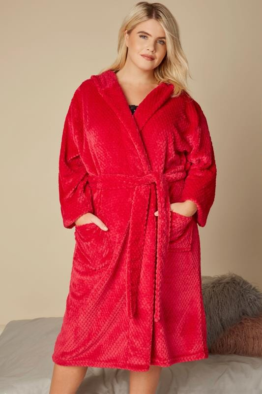 Red Fleece Hooded Dressing Gown With Pockets, plus size 16 to 40