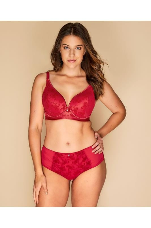 Plus Size Lingerie Sets Red Flocked Briefs