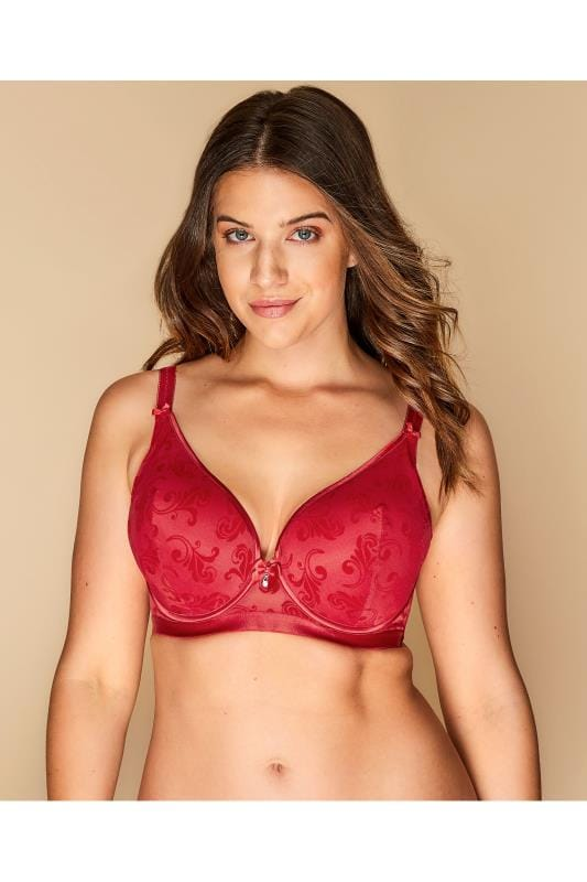Plus Size Plus Size Bras Wired Red Flocked Underwired Bra
