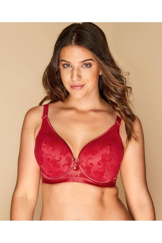 Plus Size Underwired Bras Red Flocked Underwired Bra