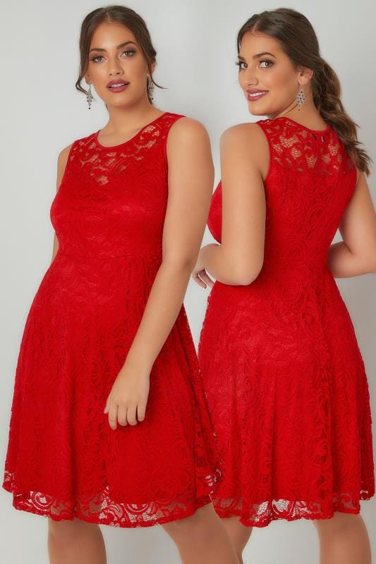 Red Floral Lace Skater Dress Plus Size 16 To 32