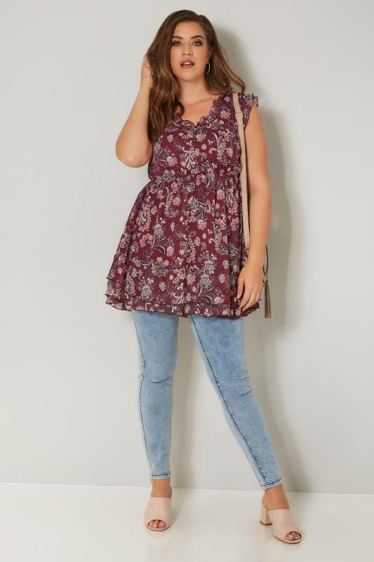 Red Floral Print Chiffon Sleeveless Top With Elasticated Waist