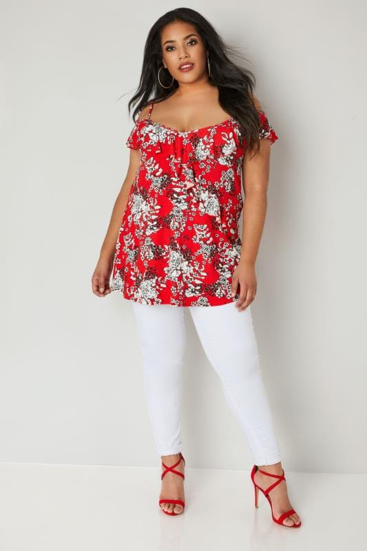 Red Floral Print Frill Cold Shoulder Top