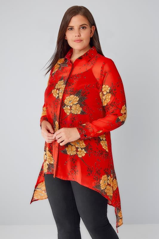 Red Floral Print Shirt With Step Hem
