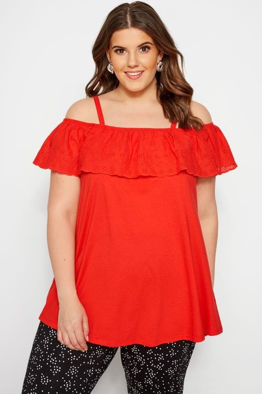 Plus Size Bardot & Cold Shoulder Tops Red Frill Broderie Cold Shoulder Top
