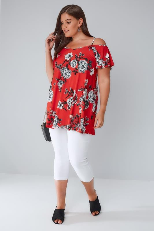 Red & Grey Floral Cold Shoulder Jersey Cami Top