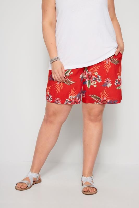 Plus Size Fashion Shorts Red Hawaiian Floral Shorts