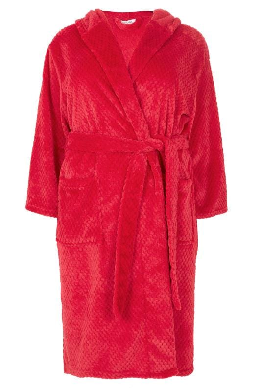 Grote maten Grote maten Badjassen Red Fleece Hooded Dressing Gown