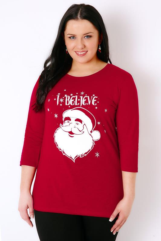 "Red ""I Believe"" Christmas Novelty Print 3/4 Sleeved T-Shirt"