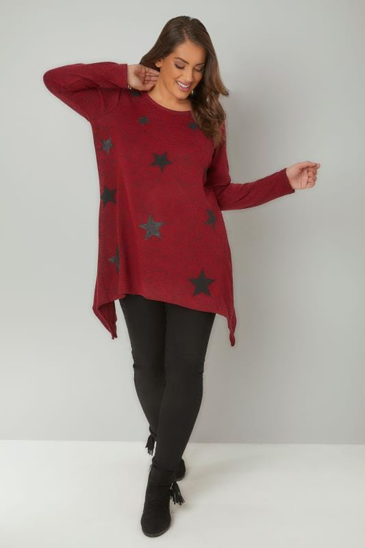 Red Textured Star Print Longline Knitted Top With Hanky Hem