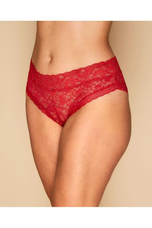 Plus Size Briefs Red Lace Brief