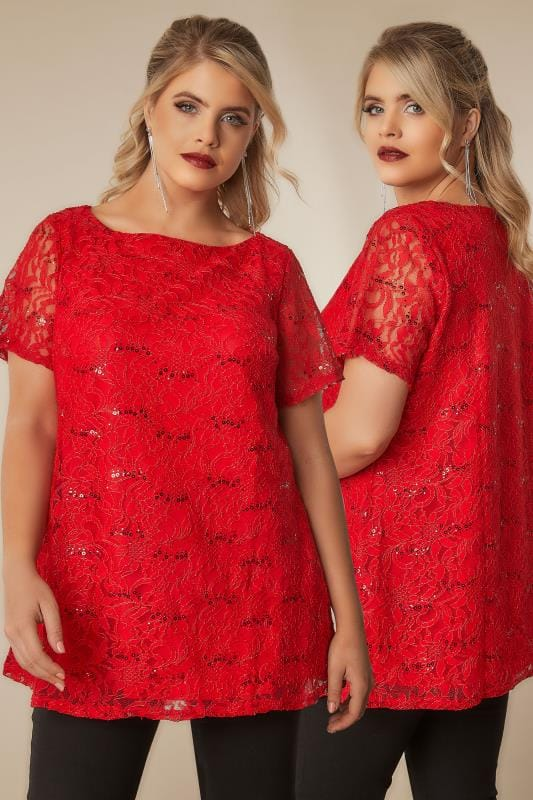 Red Lace Shell Top With Sequin Details