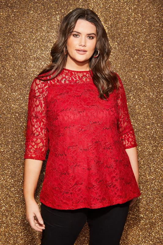 Plus Size Party Tops Red Lace Swing Top