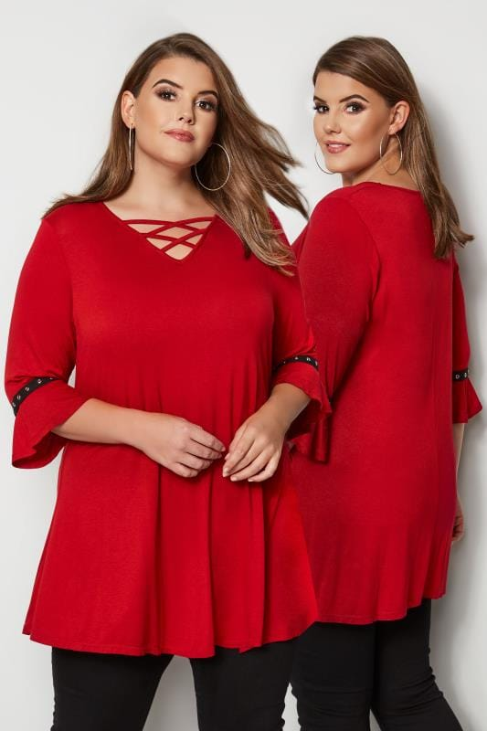 Plus Size Jersey Tops Red Lattice Front Top With Eyelet Flute Sleeves
