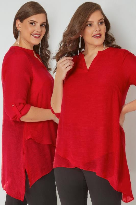 Plus Size Blouses & Shirts Red Layered Blouse With Notch Neck & Dipped Hem