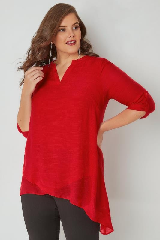 Red Layered Blouse With Notch Neck