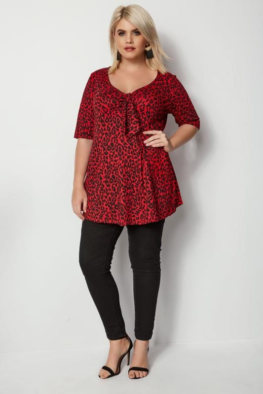 Red Leopard Print Knot Top
