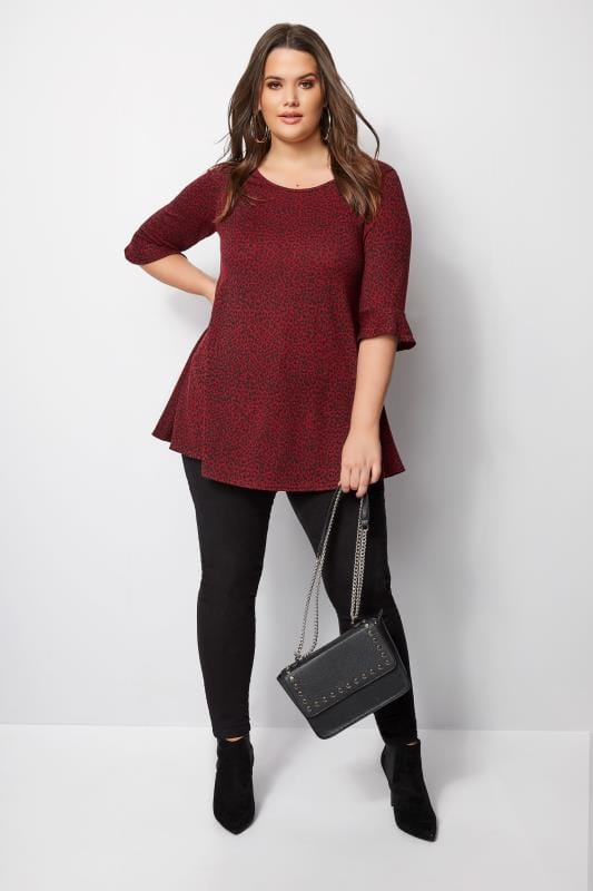 Red Leopard Top With Frill Sleeves