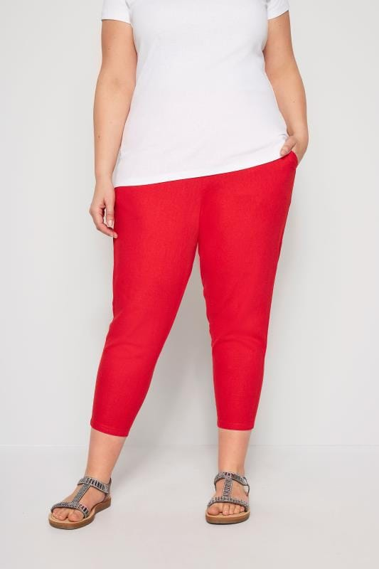 Plus Size Cropped Trousers Red Linen Mix Cropped Trousers