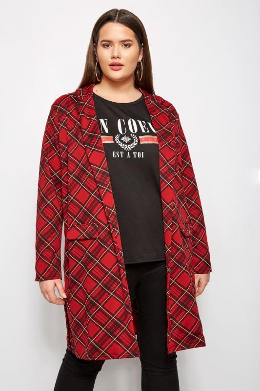 Plus Size Jackets Red Longline Tartan Jacket