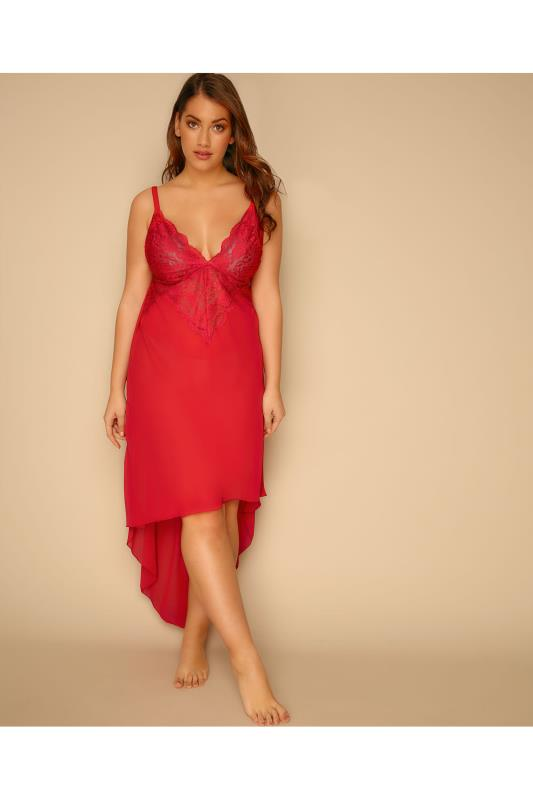 Babydolls & Chemises YOURS LONDON Red Mesh & Lace Chemise With Extreme Dip Hem 156050