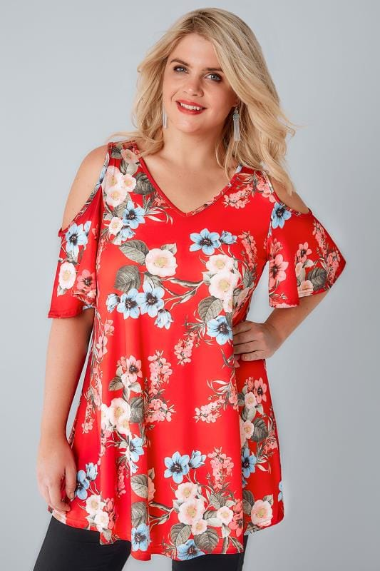 Red & Multi Floral Print Slinky Cold Shoulder Top