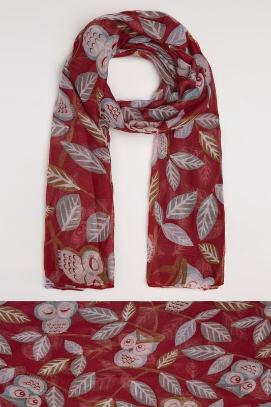Plus Size Scarves Red Owl Print Scarf