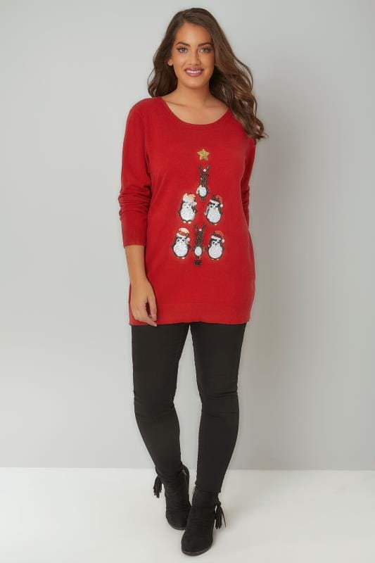 Red Penguin Sequin Embellished Fine Knit Christmas Novelty Jumper