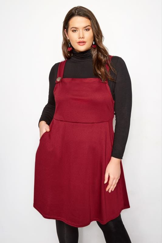 Plus Size Skater Dresses Red Pinafore Dress
