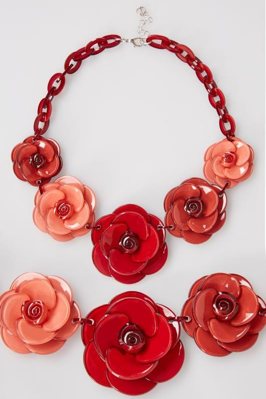 Red & Pink Acrylic Flower Statement Necklace