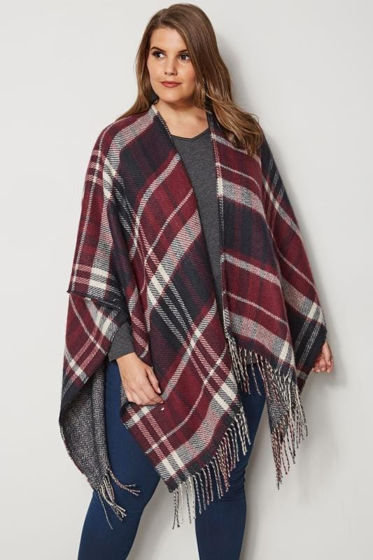 Plus Size Wraps Red Reversible Check Print Wrap