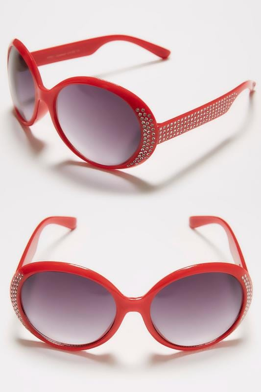 Red Round Sunglasses With Diamante Detail & UV Protection