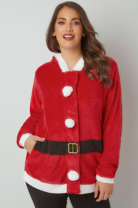 Red Santa Christmas Novelty Hooded Fleece With Bobble Detail