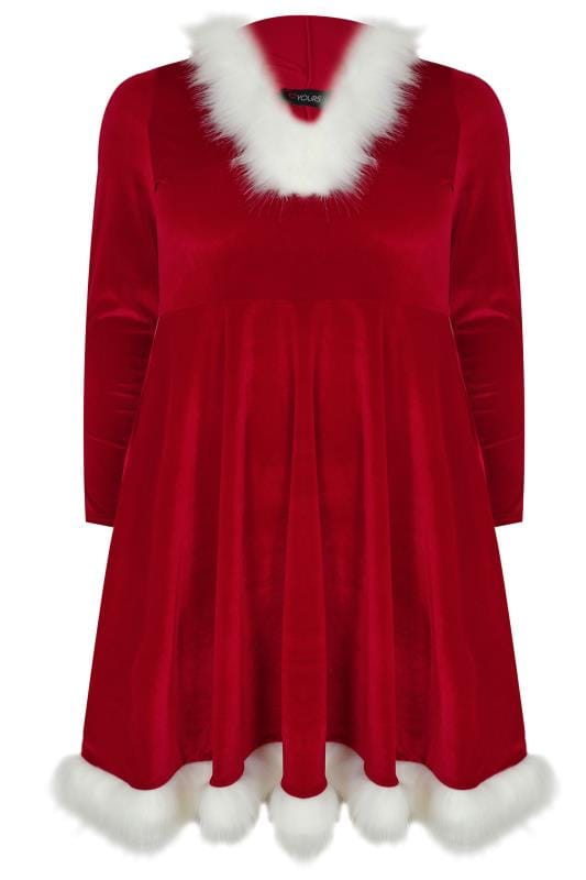 Skater Dresses Red Santa Skater Dress With Faux Fur Trims 136204