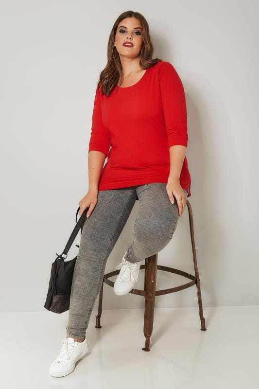 Red Seamed Scoop Neck Top