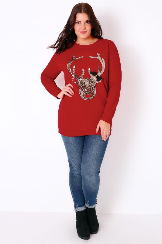 Red Sequin Reindeer Christmas Sweat Top With Long Sleeves