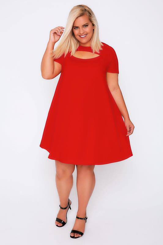 Red Short Sleeved Swing Dress With Cut Out Detail