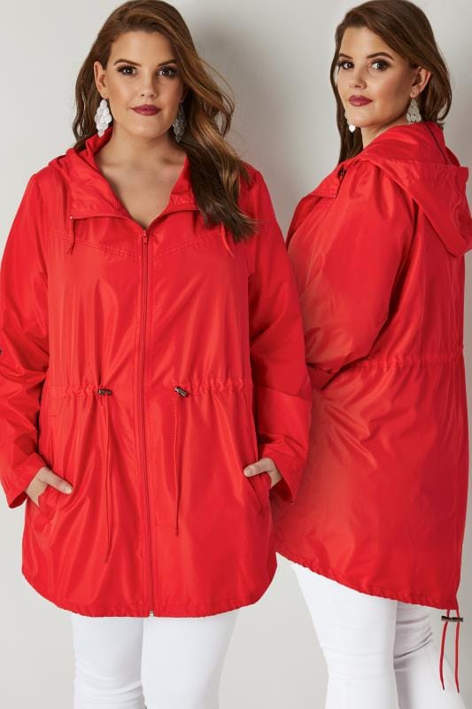 Plus Size Parka Coats Red Shower Proof Lightweight Pocket Parka Jacket