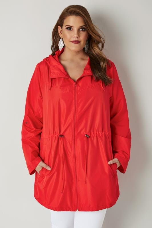 Plus Size Parka Coats Red Pocket Parka Jacket