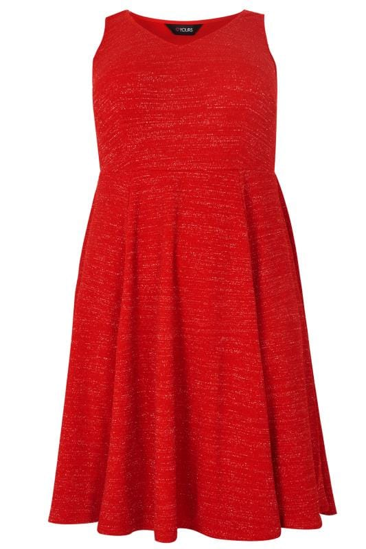 Red Sparkle Skater Dress