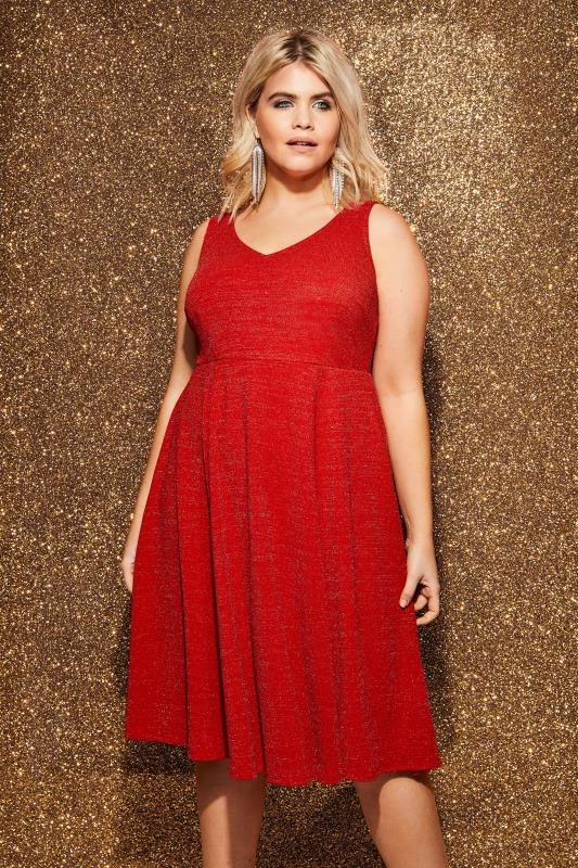 Plus Size Midi Dresses Red Sparkle Skater Dress