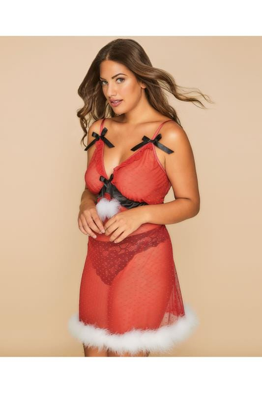 Red Spotted Mesh Babydoll With Satin Bow & Fluffy Trim