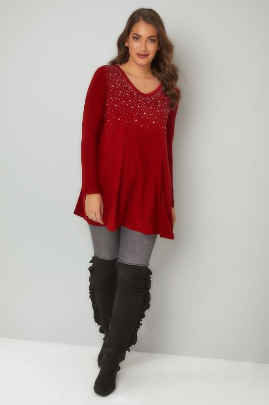 Red Star Studded Swing Top With V-Neckline