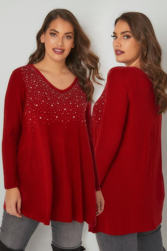 Knitted Tops Red Star Studded Swing Top With V-Neckline 132426