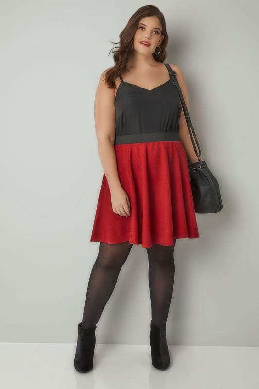 Red Textured Skater Skirt With Elasticated Waistband