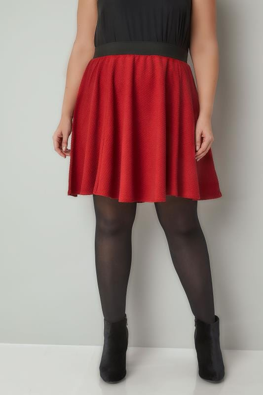 Skater Skirts Red Textured Skater Skirt With Elasticated Waistband 170383
