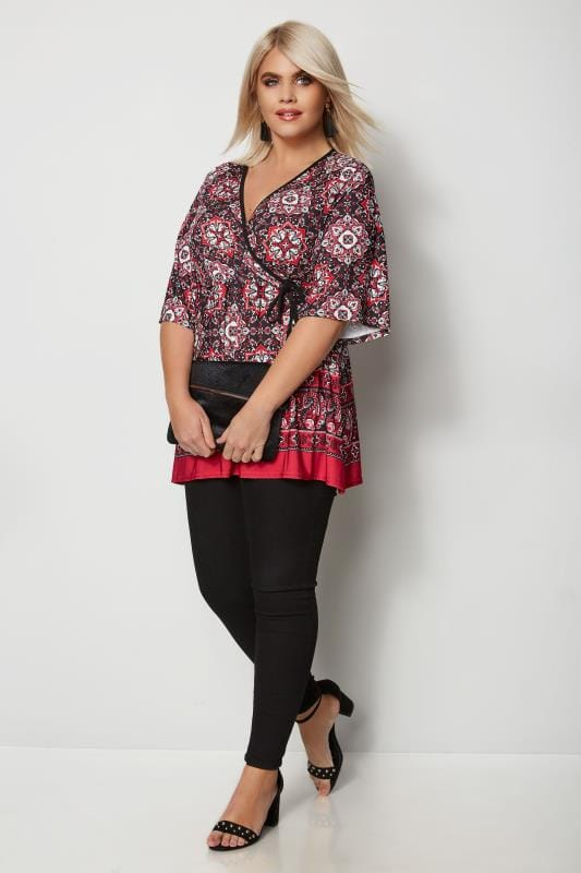 Red Tile Print Top With Border