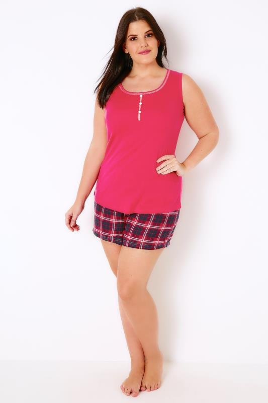 Red Top & Checked Shorts Pyjama Set
