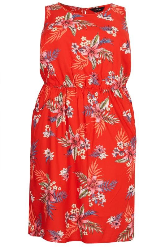 Red Tropical Floral Pocket Skater Dress Sizes 16 To 36