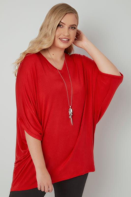 Red V-Neck Oversized Cape Style Jersey Top
